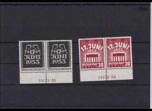 Berlin Michel Nr. 110-111, ** postfrische, Unterrandpaare mit HAN Nummer