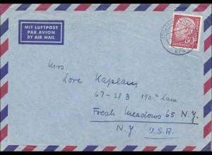 Luftpostbrief von Hannover nach USA 1958