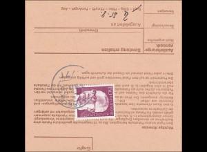 Nachnahme Postgutkarte von Tschibo Hambuirg nach Altfeld 1975, EF 150 Heinemann