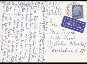 Ansichtskarte als Luftpost von Nürnberg nach Berlin 1958