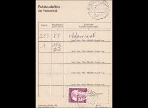 Paketzustelliste Friedrichsholm 1975