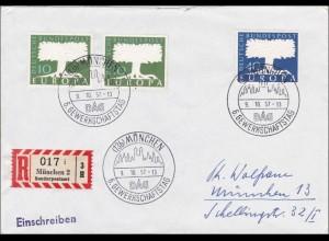Einschreiben aus München 1957, Sonderpostamt - Europamarken