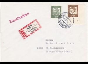 Einschreiben aus Frankfurt Main nach Hamburg - Eckrandmarke