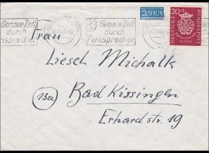 Brief aus München nach Bad Kissingen 1950, Werbestempel Fernsprechen