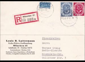 Einschreiben von München nach Rosenheim 1952
