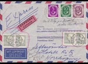 Luftpostbrief von Krefeld nach Schweden - 1952 - Weiterleitung