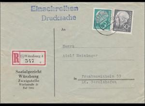 Drucksache Einschreiben von Würzburg nach Frankenwinheim 1956