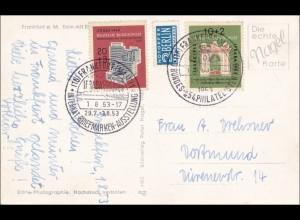 AK Frankfurt Main nach Dortmund, Sonderstempelt Briefmarken Ausstellung 1953