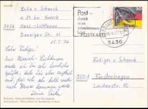 Ganzsache: Postkarte PSo4 von Hessisch Lichtenau 1974