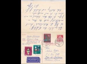 Ganzsache: mit frankierter Antwort Kenya/Tansania/Dar-es-Salaam - Kassel 1968