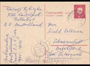 Ganzsache: P40A von Radolfzell nach Österreich 1964