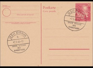 Ganzsache: PS02 - Sonderstempel Bonn, 1. Sitzung des Bundestages 1949