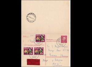 Ganzsache: Antwortkarte als Eilboten von Baden-Baden nach Italien 1965