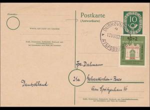 Ganzsache: Antwortkarte aus Dubrovniknach Gelsenkirchen 1953