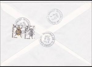 Brief 1988 nach Frankreich - Nachporto - Käfer