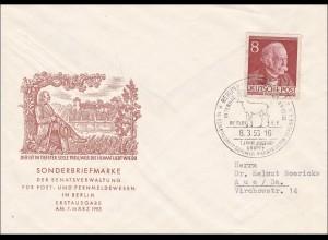 Brief FDC mit Sonderstempel 1953 Theodor Fontane
