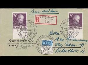 Einschreiben 1953 nach Düsseldorf - Unterränder, MeF