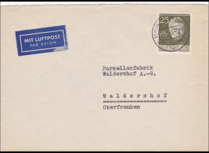Luftpost Brief 1954 nach Waldershof