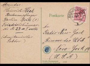 Postkarte 1949 nach USA