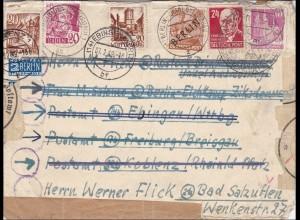 1949 viele Weiterleitungen: B,Freiburg, Ebingen, Koblenz, Bad Salzuflen, Rostock
