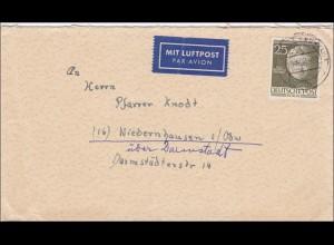 Brief 1953 als Luftpost nach Niedernhausen/Darmstadt