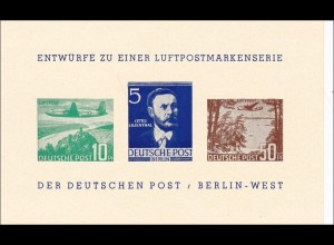 Entwürfe zu einer Luftpostmarkenserie der Deutschen Post - Berlin West