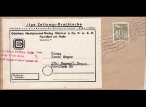 Eilige Zeitungs Drucksache von Frankfurt am Main mit Marke aus Berlin 1959
