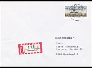 Einschreiben Berlin 1987 nach Bruchsal - 280 Automatenmarke