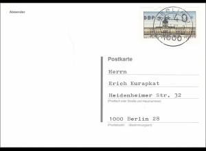 Postkarte Berlin 1987 nach Bruchsal - 40 Automatenmarke