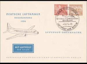 Deutsche Lufthansa 1954 Luftpost Drucksache Briefmarken Ausstellung
