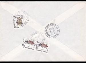 Brief 1988 nach Frankreich mit Nachporto, Käfer