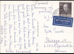 Ansichtskarte Hotel Kempinski 1954 als Luftpost nach USA