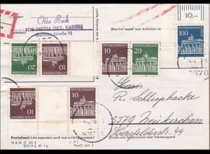 Päckchen als Einschreiben mit schöner Zusammendruck Frankatur 1968