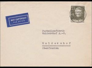 Luftpost Brief nach Waldershof 1954