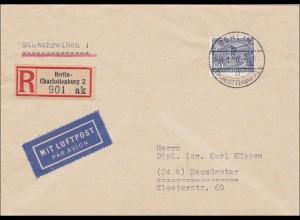 Luftpost Einschreiben von Charlottenburg nach Neumünster 1950