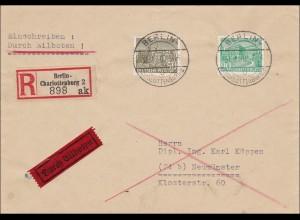Eilboten/ Einschreiben von Charlottenburg nach Neumünster 1950