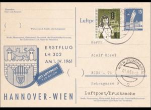 Ganzsache Erstflug LH - Hannover-Wien 1961