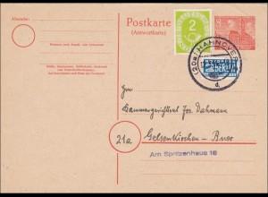 Ganzsache von Hannover nach Gelsenkirchen 1954