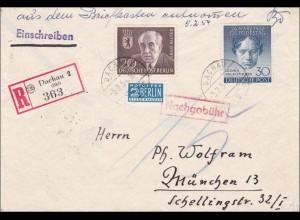 Einschreiben Dachau nach München - Nachgebühr 1954