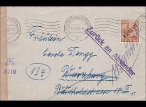 Brief 1948 nach Würzburg und zurück - Zensur