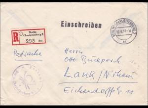 Postsache Einschreiben 1956 nach Lank