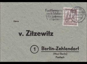 Fürth nach Berlin - Werbestempel 1953 Funkfernsprecher nach Südamerika
