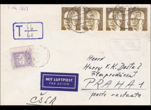 Brief als Luftpost mit MeF nach Prag mit Nachgebühr 1971