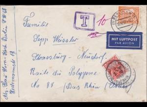 Luftpostbrief von Berlin nach Frankreich 1952