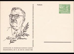 Ganzsache 1956 Günther Clausen