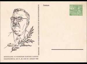 Ganzsache Günther Clausen 1956