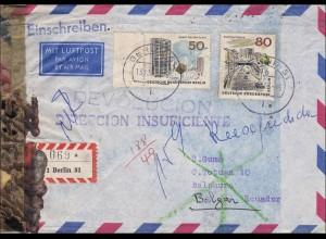 Luftpost Einschreiben von Berlin nach Ecuador