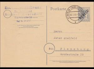 Ganzsache Berlin nach Flensburg 1949, MiNr. P2d
