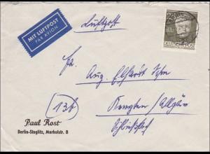 Luftpostbrief von 1954 nach Kempten