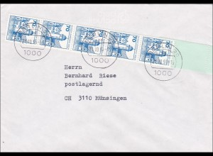 Brief mit Rollenendstreifen nach Münsingen 1991